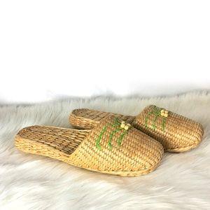 Shoes - Rattan Slide On Tropical Mule Loafer Sandals